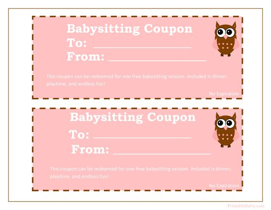 Printable Babysitting Coupons Free Baby Sitting Voucher Coupon Template Babysitting Coupon Father S Day Printable