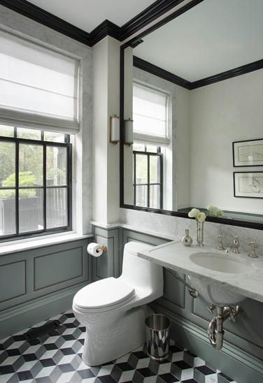 nina farmer interiors  bathrooms  graygreen wall