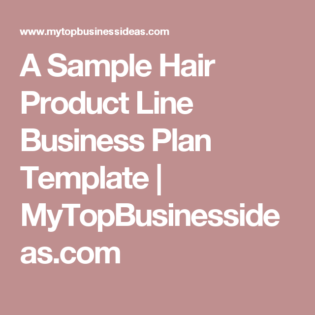 A Sample Hair Product Line Business Plan Template