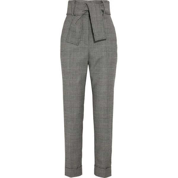 be907e9e1d Sara Battaglia Prince of Wales checked wool-blend tapered pants ...