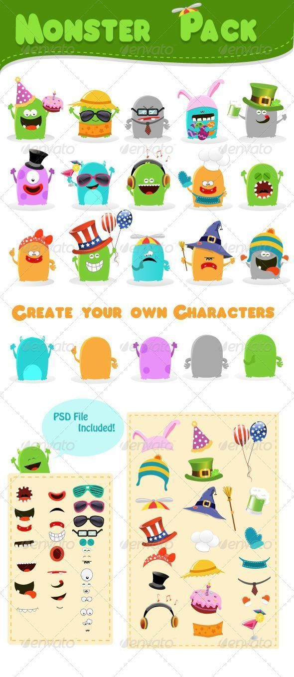 Cartoon Character Creation Kit PSD Files Sprite Character