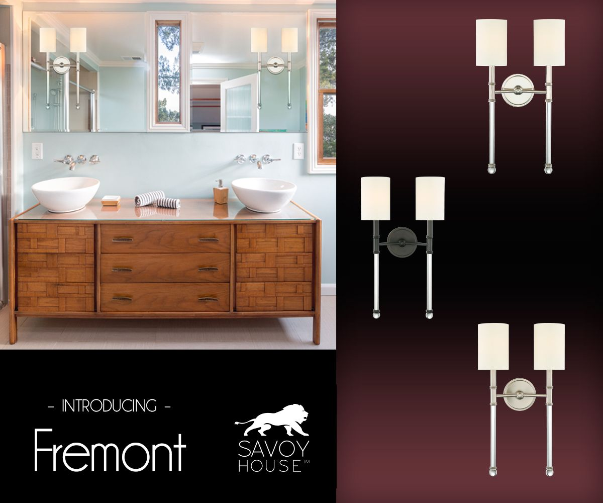 shades bathroom furniture uk%0A Fremont from Savoy House is a sconce collection featuring a slim  silhouette  soft white fabric shades  acrylic arms and polished nickel   satin nickel or
