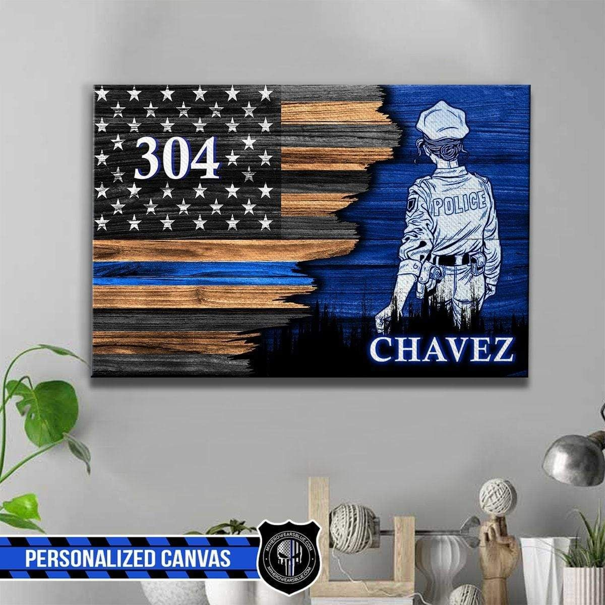 Female police officer suit half flag personalized