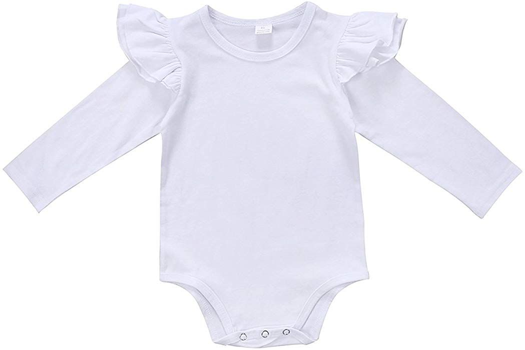 fb12f96bb Amazon.com: GSHOOTS Baby Girls' Clothes Long Butterfly Sleeve Ruffled  Bodysuit Fly Sleeve Romper (100 / 18-24 Months, Solid White): Clothing