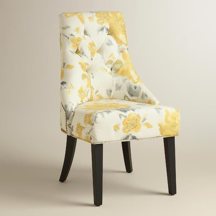 yellow upholstered dining chairs chaise lounge chair ikea floral tufted and gray lydia small