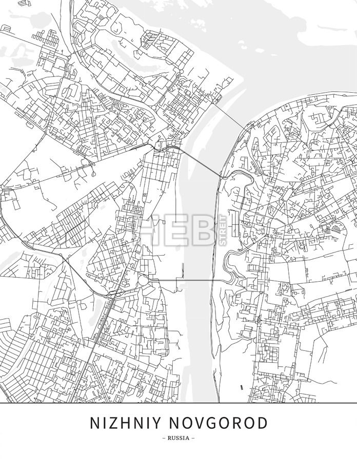 Novgorod Russia Map.Nizhniy Novgorod Russia Map Poster Borderless Print Template