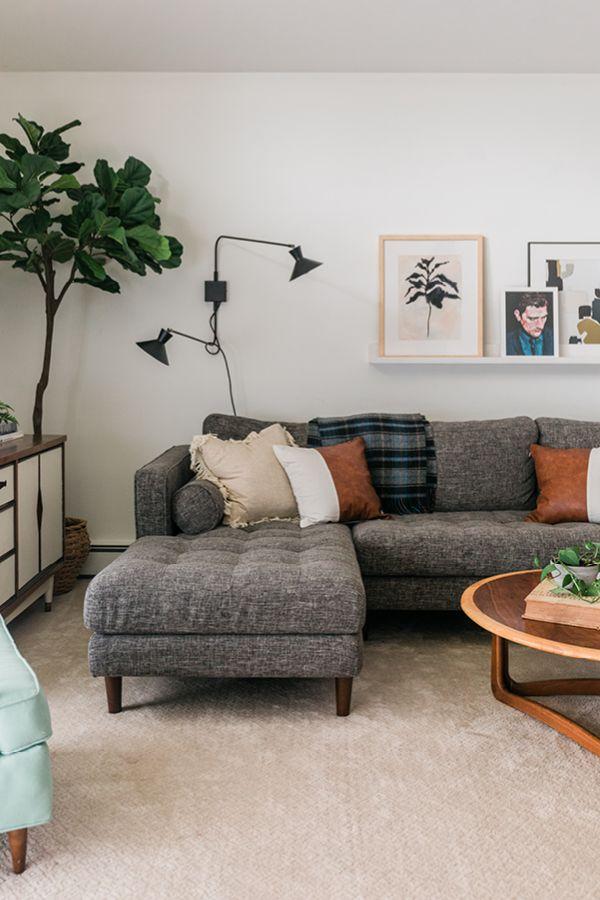 Sven Briar Gray Right Sectional Sofa Grey Couch Living Room Grey Sofa Living Room Dark Grey Couch Living Room
