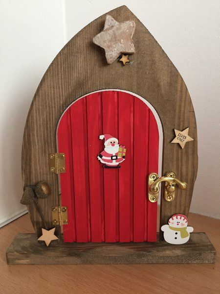 Pre order elves only wooden elf and fairy christmas door for Wooden fairy doors