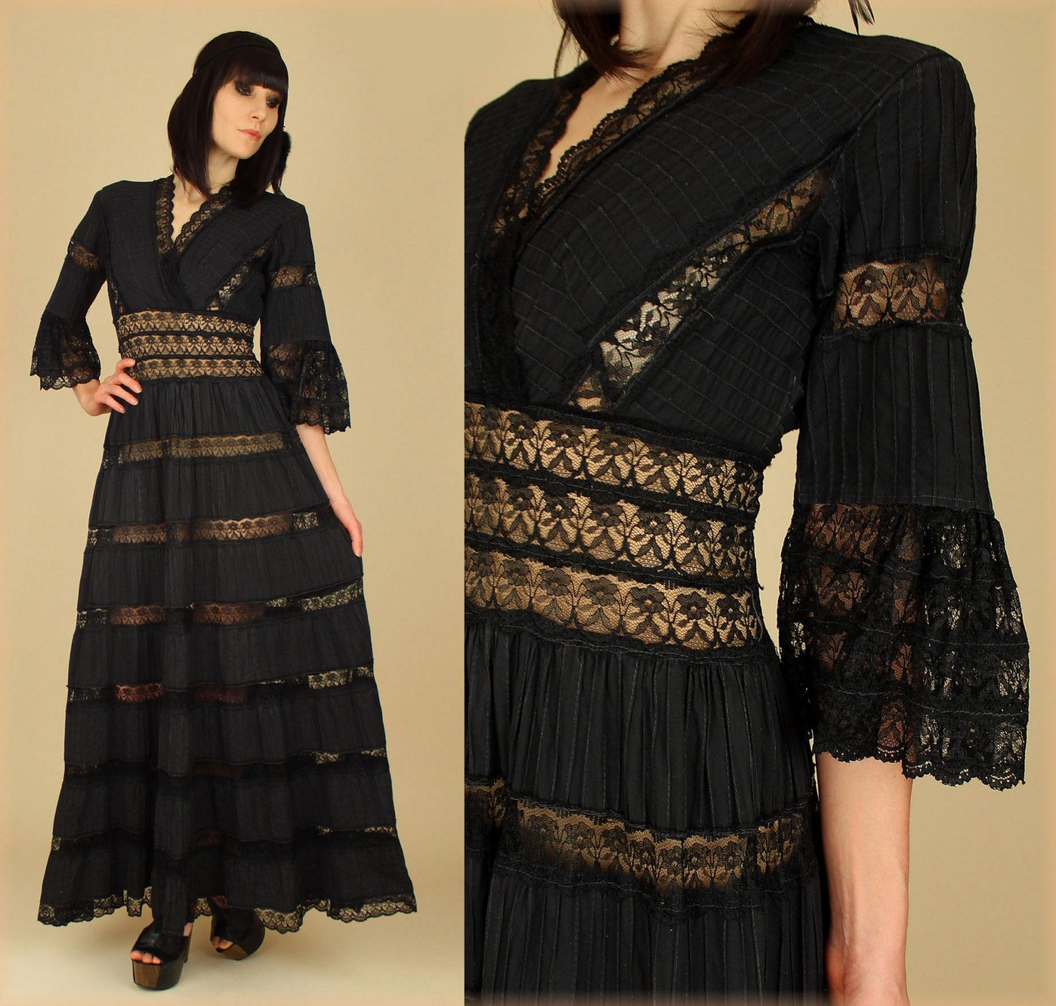 Vintage us black lace pin tuck mexican wedding maxi dress s
