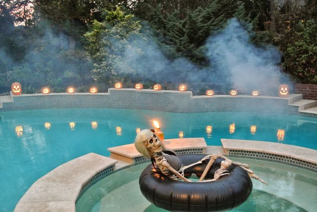 Adult only halloween party skeleton in pool with - Halloween swimming pool decorations ...