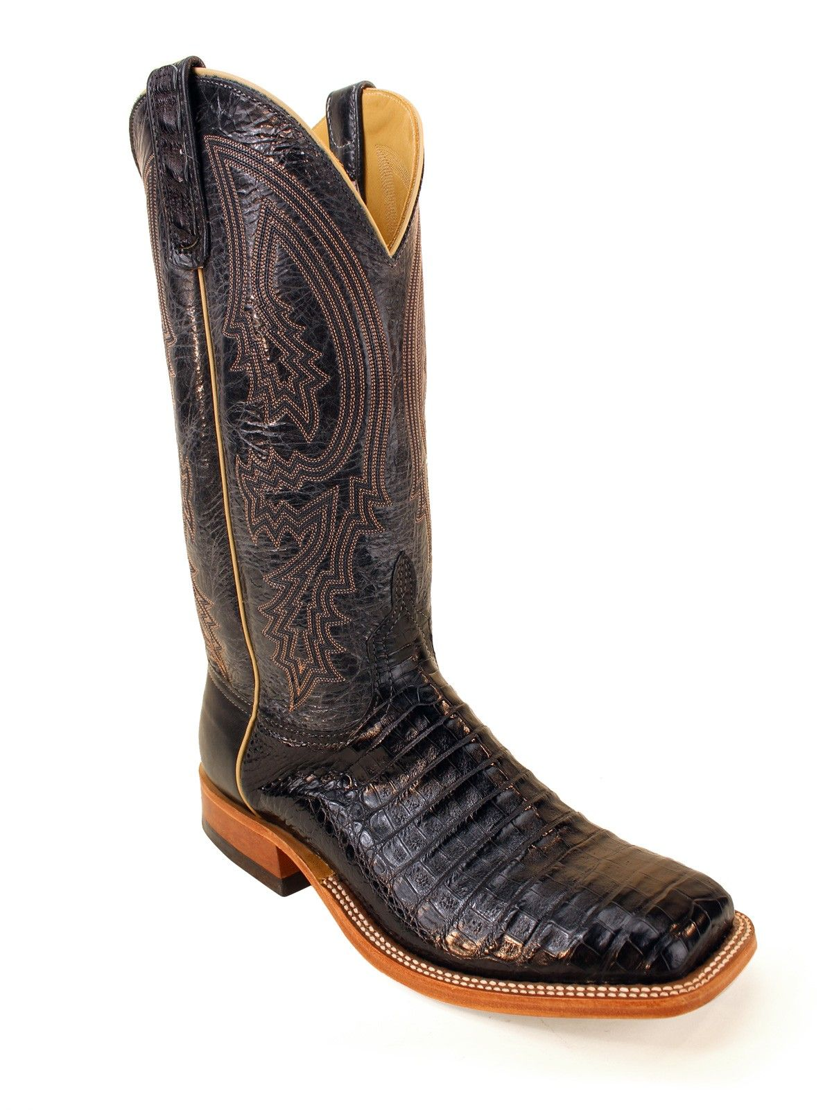 5f62f5621f7 Mens Anderson Bean Black Caiman Belly Boots S1104 -Texas Boot ...