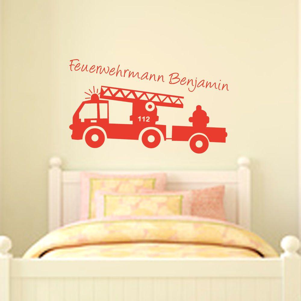 Perfect Details zu Wandtattoos Feuerwehr mit Wunschnamen Feuer Aufkleber Sticker Deko g nstig gut