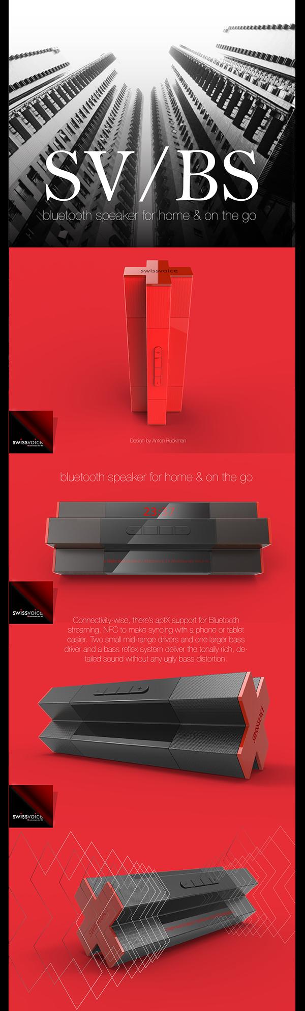 Portable Bluetooth Speaker for Swissvoice by Anton Ruckman, via Behance