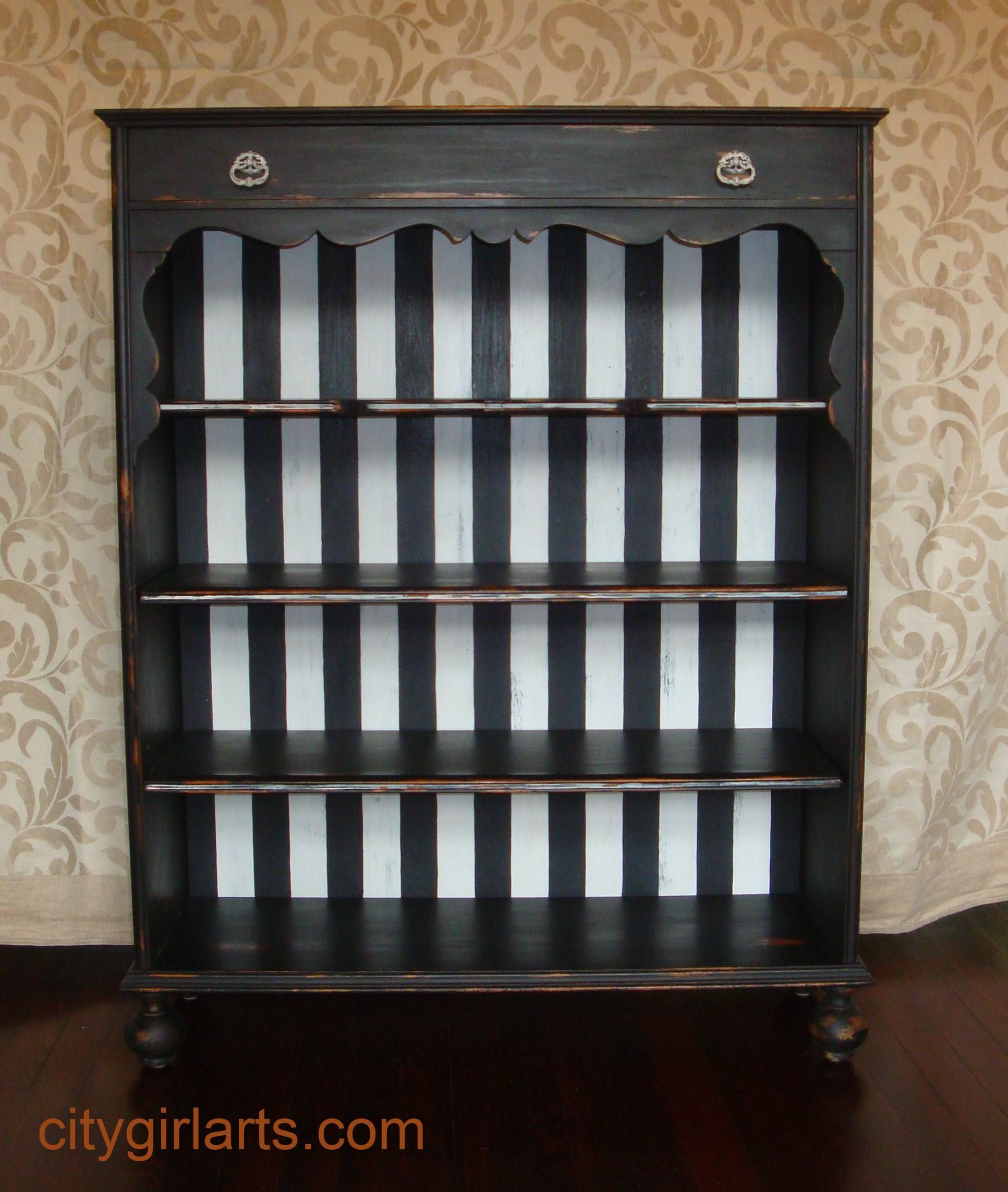 Antique Black And White Striped Bookcase Bun Footed Bounty