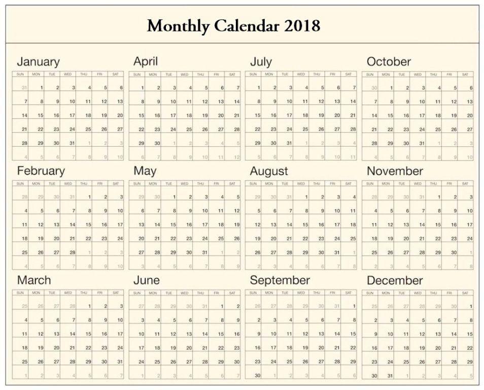 Monthly Calendar 2018 Excel 2018 Calendars Calendar, Monthly