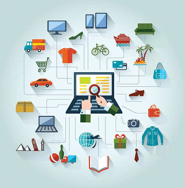 Digital Marketing And E Commerce Flat Design Digital Marketing Ecommerce Marketing