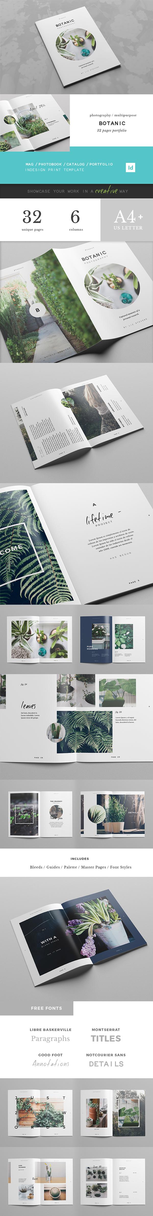 botanic portfolio template on editorial design served book