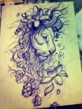 Pretty lion tattoo design