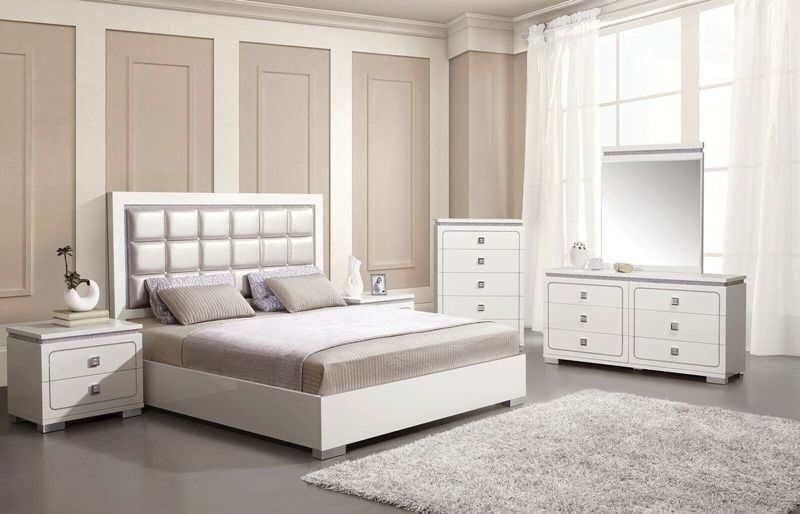 Best Valentina Modern Bedroom Set With Pearl Leatherette 640 x 480