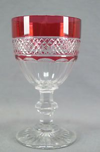 Rare St Louis Trianon Cranberry Cut to Clear Crystal Water Goblet