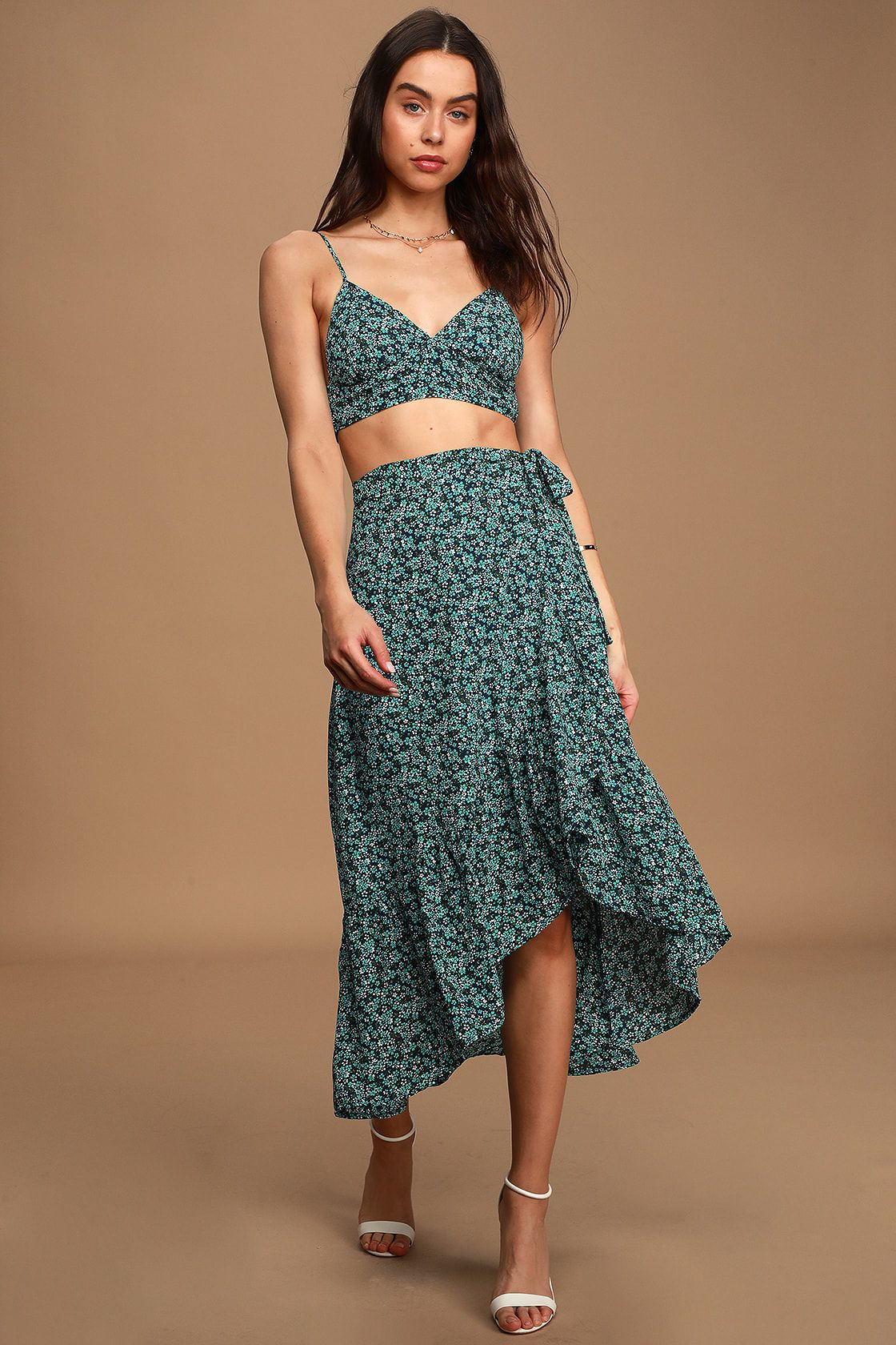 Believe In Me Navy Blue Floral Print Two Piece Midi Dress Resort Wear Dresses Piece Dress Dresses [ 1680 x 1120 Pixel ]