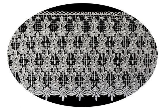 14 Inches Wide -- Black or White Floral Venice Lace Trim Guipure Fabric Trimming Shawl Embellishment DIY Sewing Notions Supplies UB21445