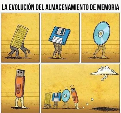 Y esta es la evolución del almacenamiento de memoria.
