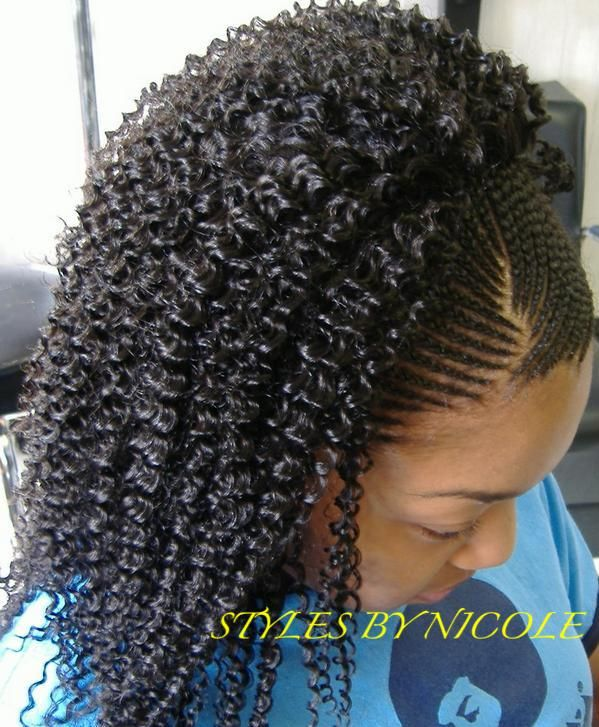 Small Braids In Front W Sew Jerry Curl Back N Mo By Styles Nicole