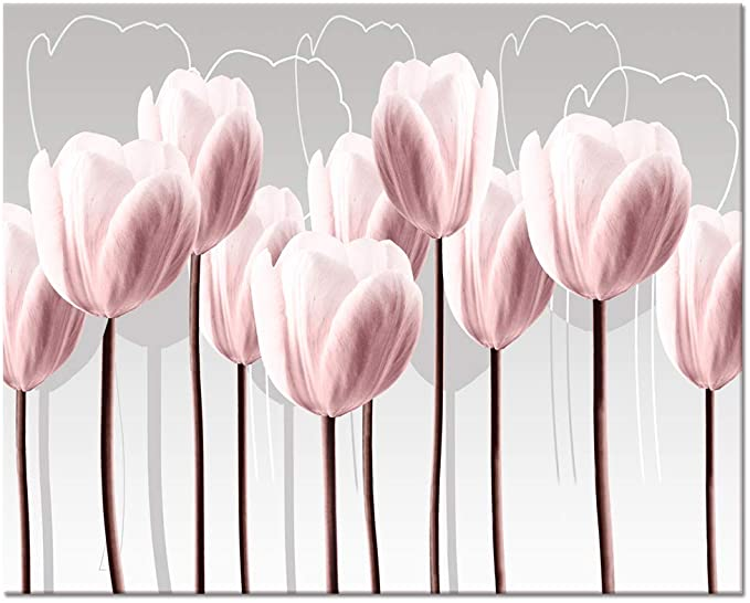 Amazon Com Visual Art Decor Pink Grey And White Abstract Floral Canvas Wall Art Pictures Beautiful Fl Floral Wall Art Canvases Pink Painting Wall Art Pictures