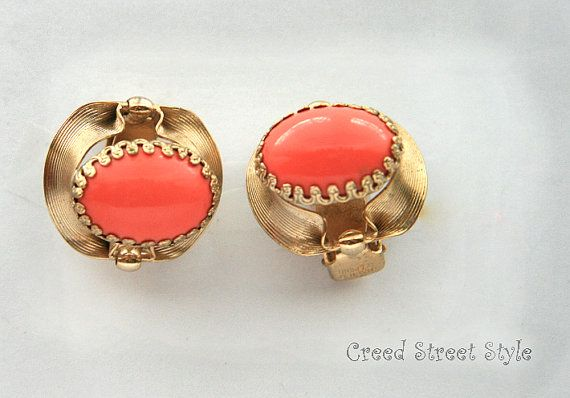 Vintage Peach and Gold Napier ClipOn Earrings by CreedStreetStyle, $21.50