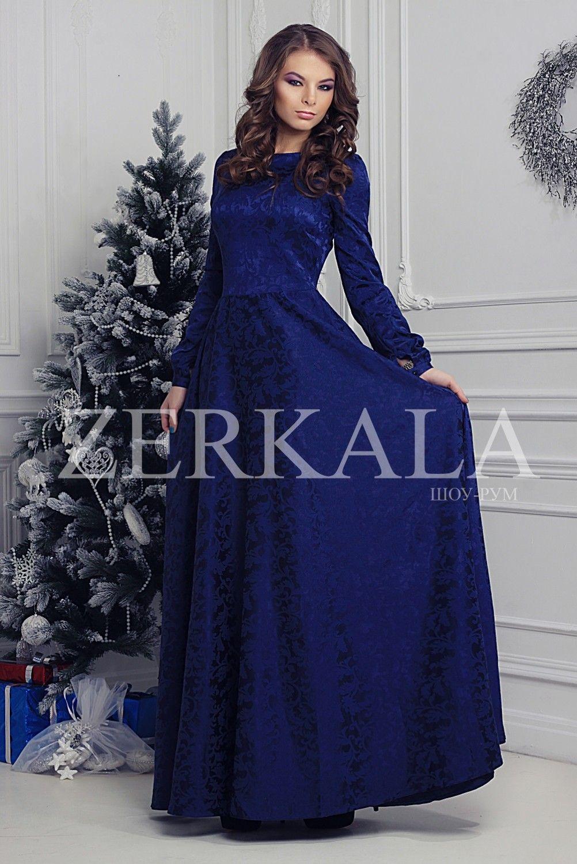 308b4c1f51f8 Темно-синее платье в пол с длинными рукавами. Ткань жаккард.   К ...