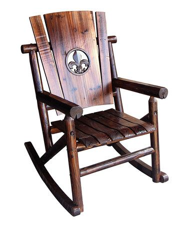 Leigh country char log fleur de lis medallion single - Rocking chair de jardin ...