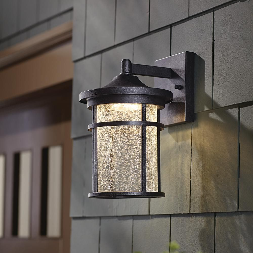 Home Decorators Collection Aged Iron Outdoor Led Wall Lantern Sconce With Crackle Glass Led Kb 08304 The Home Depot House Lighting Outdoor Outdoor Garage Lights Outdoor Light Fixtures