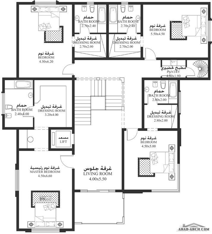 تصاميم الفيلا NS 04   غرف نوم 5   ابعاد المسكن 17.60م عرض   19.40م