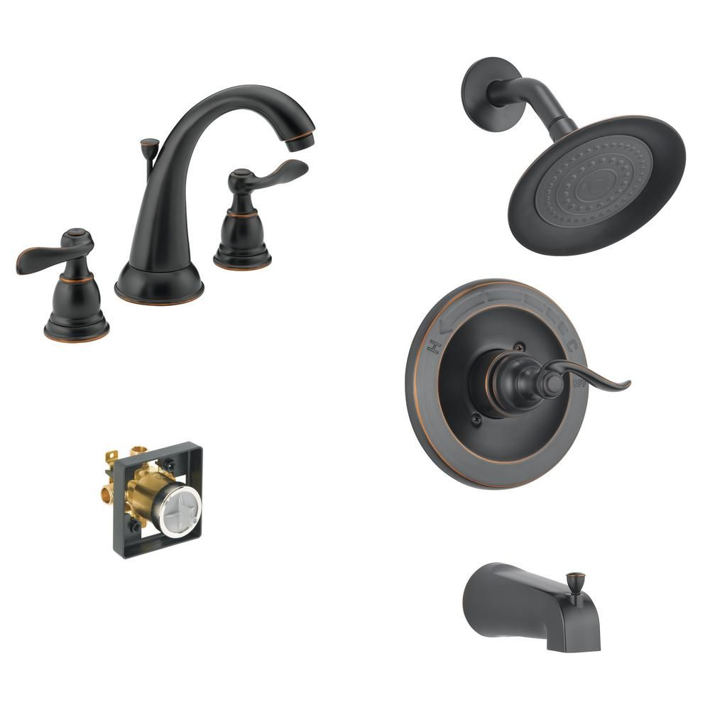 Delta Windemere 8 In Widespread 2 Handle Bathroom Faucet Bundle