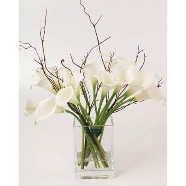 Calla Lilies Artificial Flower Arrangement White Clv009 600x600 Jpg 600 600 Artificial Flower Arrangements Artificial Plants Decor Artificial Plant Wall