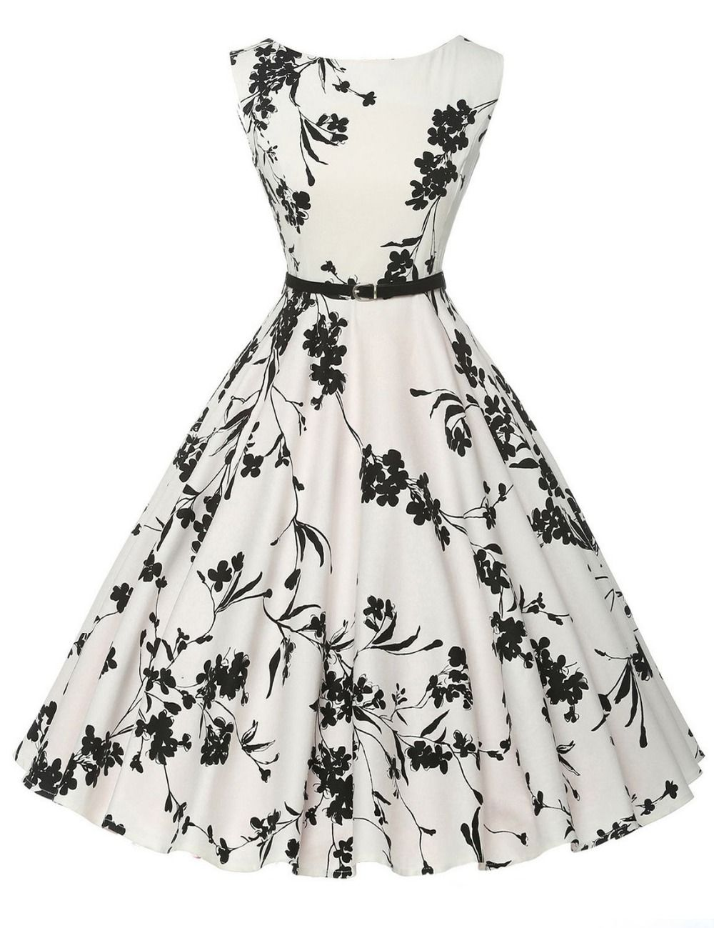 a34912bfb20e New Women Vintage 50s 60s Casual Dress Floral Printed Summer Sleeveless  Style Retro Audrey Hepburn Swing Pinup Rockabilly dress