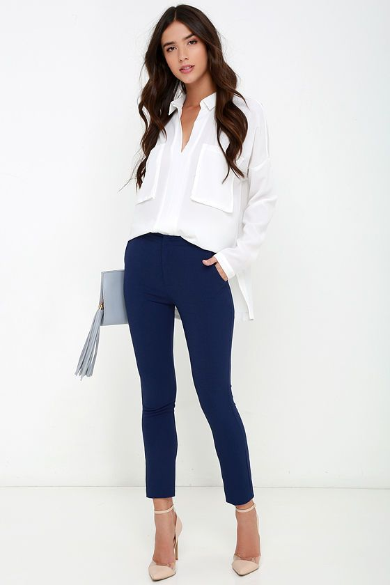 Vixen Vocation Navy Blue Trouser Pants | Under $50 | Pinterest | Blue trousers Vixen and Navy blue