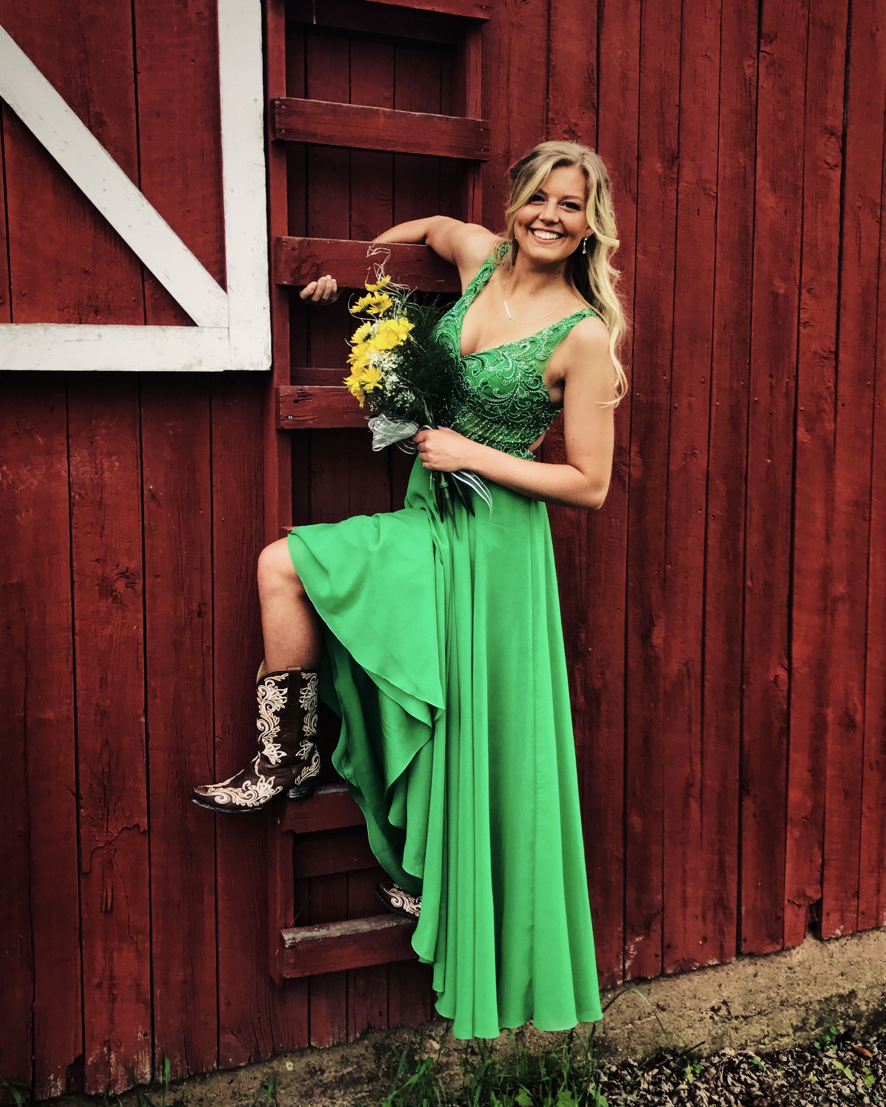 Stunning Kelly Green Prom Dress Open Back With Cowgirl Boots Kelly Green Dresses Green Prom Dress Green Dress [ 3780 x 3024 Pixel ]