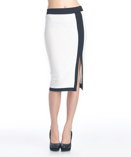 Ivory & Black Side-Slit Color Block Pencil Skirt