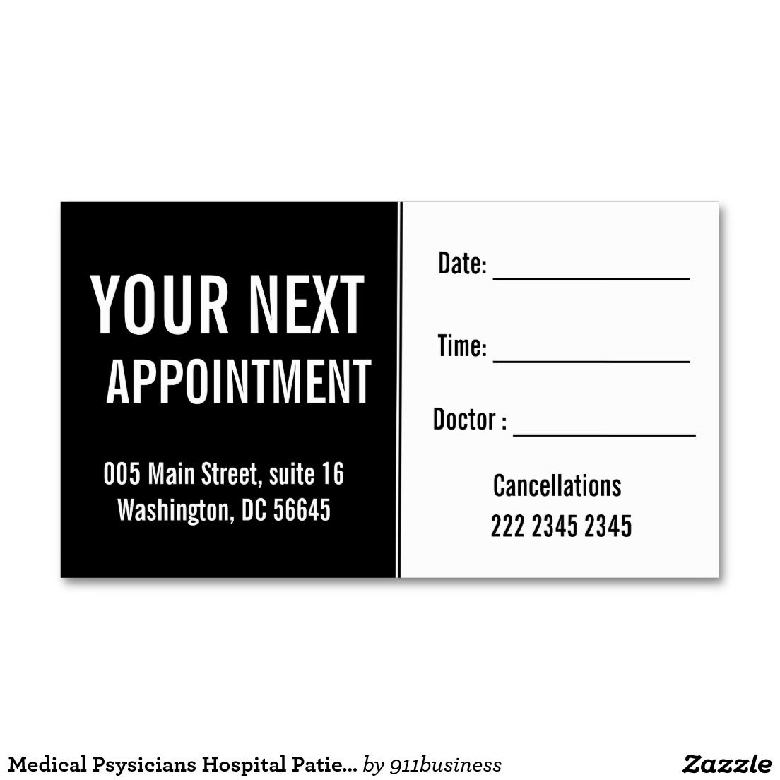 Medical Psysicians Hospital Patient Appointment Zazzle Com Custom Business Cards Modern Business Cards Standard Business Card Size