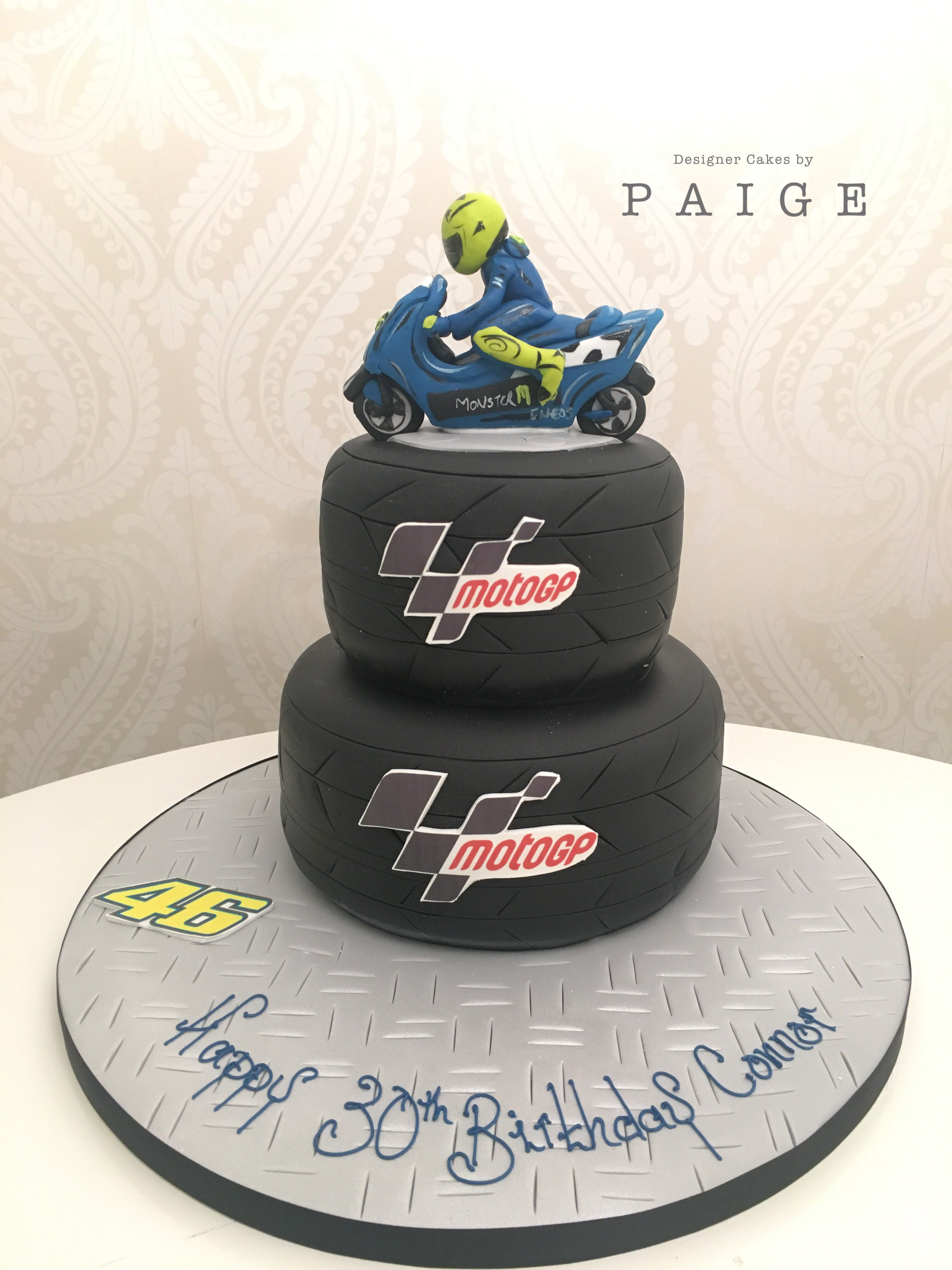 Perfect Men S Birthday Cake Two Tyres Made From Topped With An Edible Motorbike And Rider