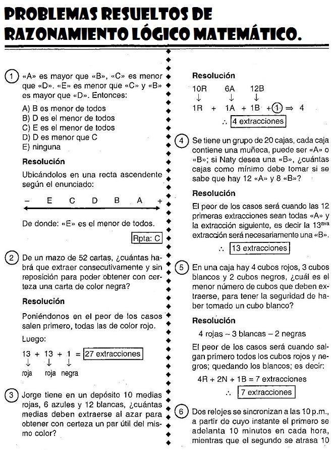 Razonamiento Logico Matematico Problemas Resueltos De Razonamiento