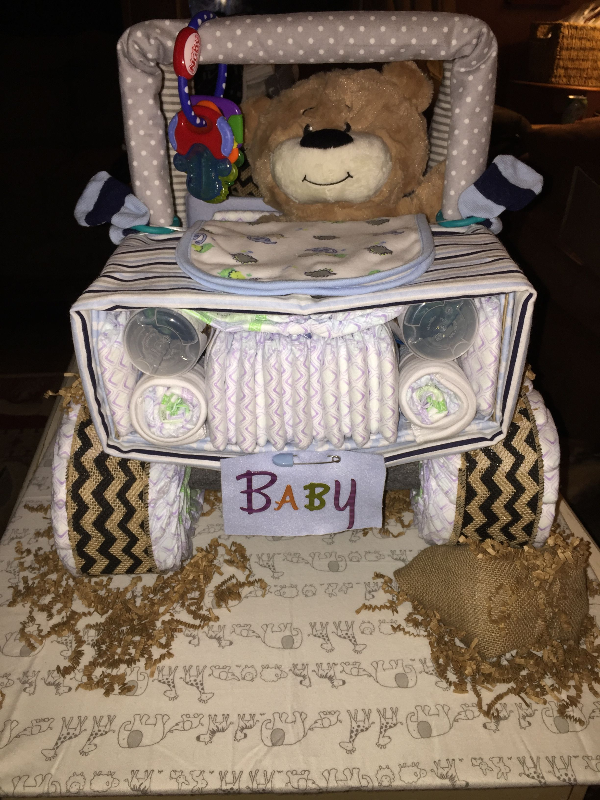 Jeep Diaper Cake Front View Diaper Cakes Jeep Diaper
