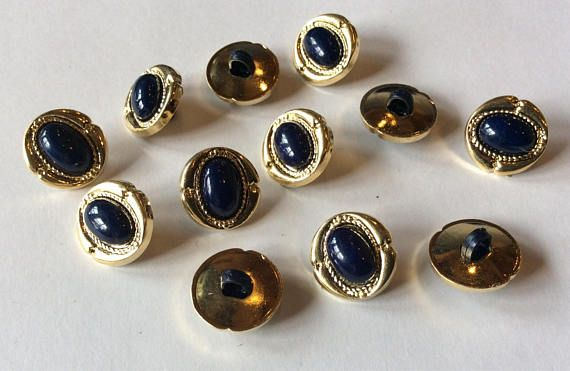 Small Gold and Navy buttons 14 mm 1/2 inch sewing buttons 12
