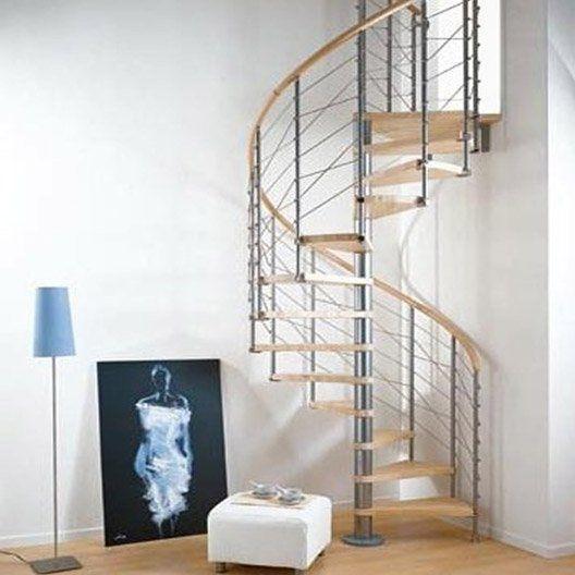Escalier Colimacon Rond Ring Line Marches Bois Structure Metal Chrome Escalier En Colimacon Fabriquer Escalier Bois Escalier