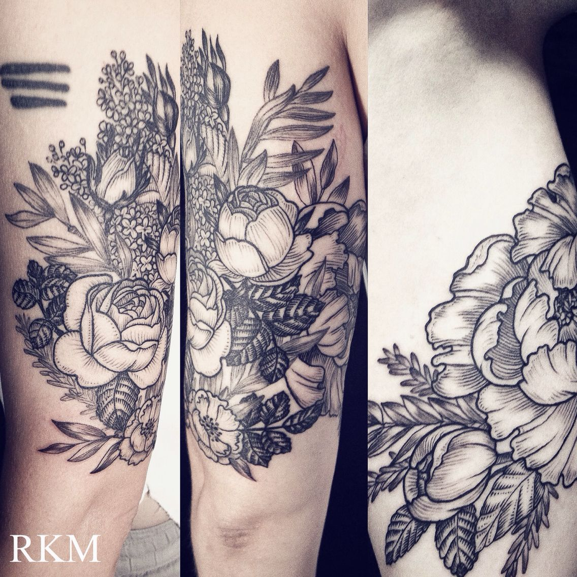 20 Botanical Tattoo Artists You Need To Follow For Your: Etching Style Vintage Botanical Art Tattoo By Riki-Kay