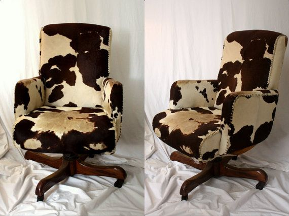 Hank Snow COWHIDE Swivel Chair Brown White Cow Hide By Kimvintage, $1995.00