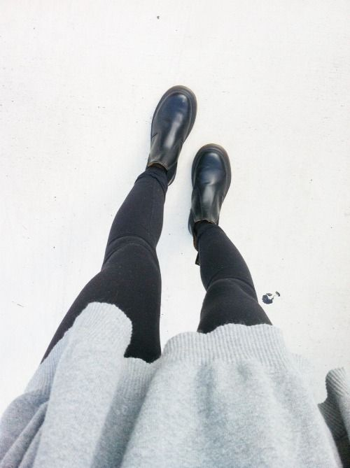Grey Knit & Black Boots