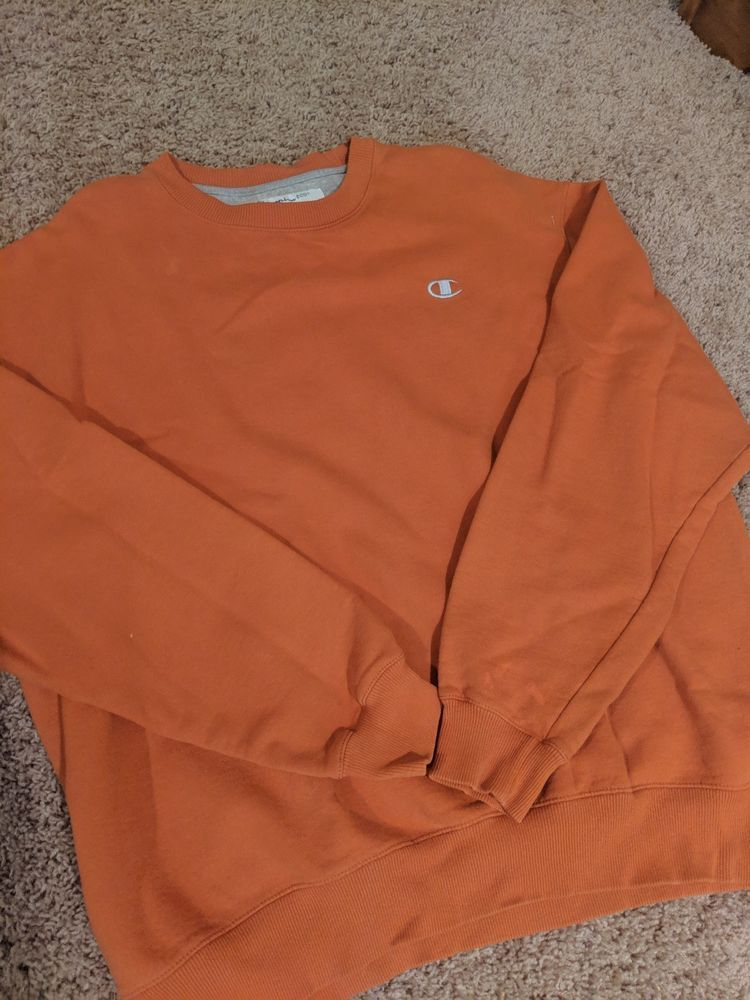 CHAMPION ECO Authentic Crew Neck Pullover Sweatshirt Gray Size S Embroidery Logo